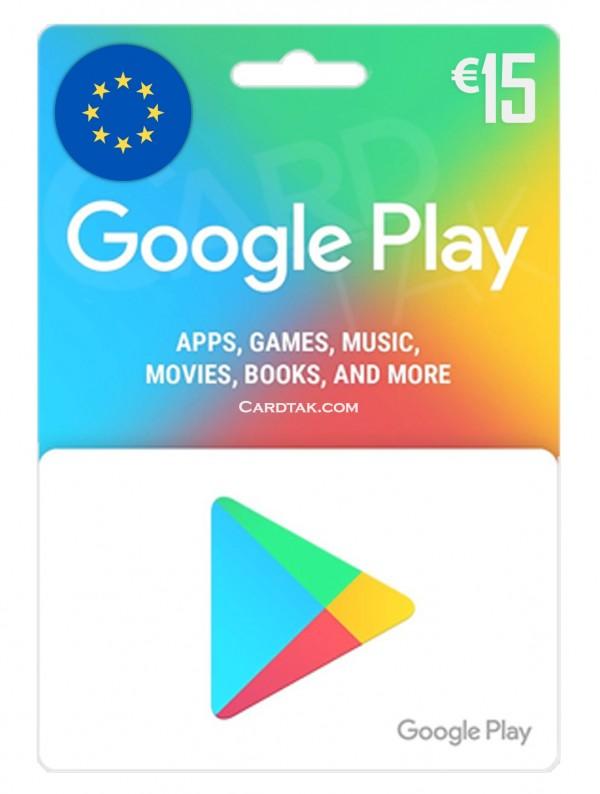 گیفت کارت گوگل پلی 15 یورو اروپا (بهترین قیمت)