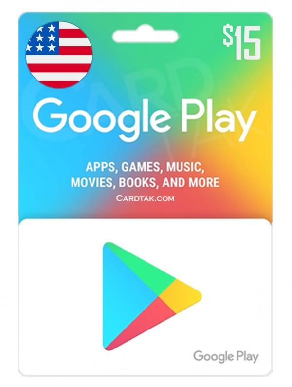 گیفت کارت گوگل پلی 15 دلاری آمریکا (US)