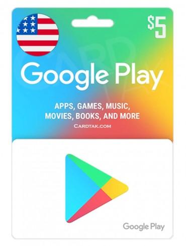 گیفت کارت گوگل پلی 5 دلاری آمریکا (US)