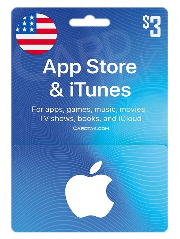 گیفت کارت آیتونز 3دلاری آمریکا (بهترین قیمت)